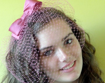 Hot pink silk bow bridal veil - pink wedding veil - retro hot pink bridesmaid veil