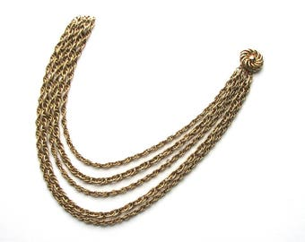 signed vintage Corocraft chain necklace, multi chain necklace, 5 chain strand . Coro Craft jewelry