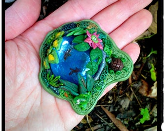 Miniature Fairy Garden Koi Pond Custom Hand Sculpted in Polymer Clay with Goldfish Frog Turtle Water Lilies for Teacup Gardens Terrariums