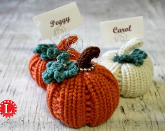 Loom Knitting PATTERNS Pumpkin with Step by Step Video Tutorial | Card / Place Holder | Thanksgiving Halloween Harvest Fall  by Loomahat