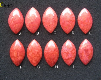 Natural Red Sponge Coral Marquise Cabochon 23-24 x 40-41 x 6-9mm (choose 1 piece)