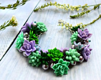 flower bracelet, succulent bracelet, succulent jewellery, bride bracelet, bride jewelry, bridesmaids gift, gift for her, green corsage