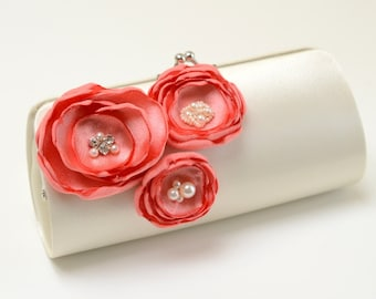 Ivory & Coral Clutch - Bridesmaid Clutch - Bridal Clutch - Coral Wedding Bouquet Clutch - Trio Of Coral Flower Blossoms Rhinestones Pearls