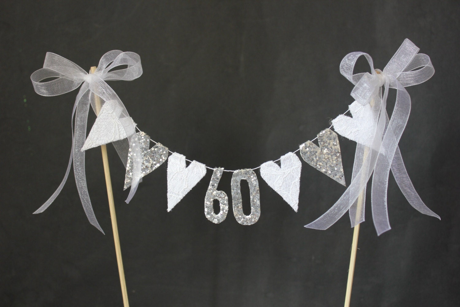 Diamond Wedding Anniversary cake topper suitable for 60th