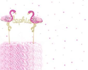 Custom Name Glitter Flamingo Cake Topper - Tropical Birthday Cake Topper, Tropical Birthday, Tropical Party, Flamingo Party, Tropical Party