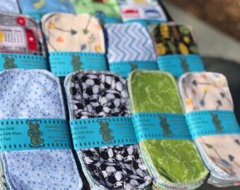 MamaBear Reusable Cloth Wipes Set BOY COLORS- Baker's Dozen