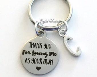 Step Dad Gift, Thank you for loving me as your own KeyChain Gift for Guardian Keyring Foster Parents Key chain letter Birthday present us