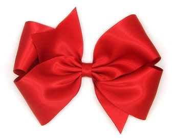 "Red Satin Hair Bow, 6 Inch Bow, Big Satin Bow, Extra Large Boutique Bow, King Size Bow, 6"" Satin Hair Bow, Women, Teens, Girls 60 Colors"