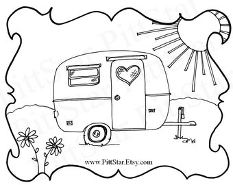 Instant Download - Boler / Scamp Travel Trailer - Printable Coloring Page