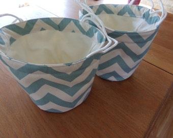 Blue Chevron Soft Sided Canvas Bucket