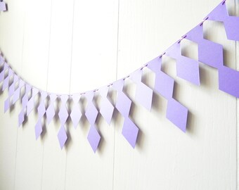 Lilac Garland - Bunting Photo Prop- Mantel Decor - kids Room Decoration - Purple Shimmer Garland - Nursery Decor