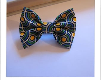 """hair bow """"clip - me"""" green blue and yellow"""