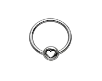 """316L Surgical Steel Heart Captive Bead Ring Nose Ring CBR Helix, Tragus, Daith, Ear Cartilage. 1/4"""" 9/32"""" 5/16"""" 3/8"""" 22G 20G 18G 16G"""