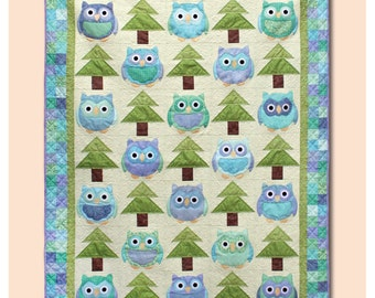Whooo's There – Owl Quilt Pattern – Machine Applique Quilt Pattern