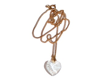 Vintage Crystal Heart Necklace - heart collection valentines day i love you necklace gift crystal carved
