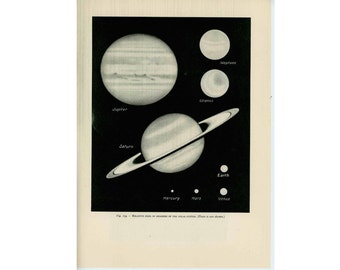 1959 SIZES of PLANETS print original vintage celestial astronomy lithograph - comparative sizes