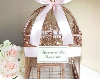 Large Rose Gold Bird Cage-Wedding card holder