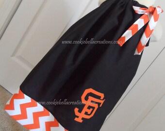 Black and Orange Baseball Team Chevron Baseball Pillowcase Dress