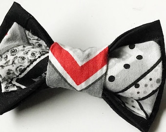 Black, Gray, & Red  Chevron Bow Tie for Male Dog or Cat