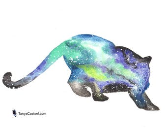 Puma ORIGINAL Watercolor, Galaxy Spirit Totem Animal 9X12