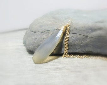 Layering Neckklace, Long Gemstone Pendant, Grey Chalcedony, Elongated, Gold Filled