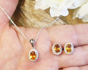Set Citrine Gem November Birthstone Necklace and Earring, 2.25 Carat Natural 7 x 5 mm Gold Citrine, Sterling Silver Necklace