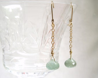 Green and Gold Earrings: Moss Aquamarines- 14K Gold Filled Chain