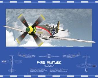 Airplane blueprint etsy p 51d mustang gunfighter multiple print sizes warbirds blueprint wall malvernweather Choice Image