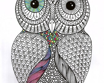 Instant PDF Download - Owl -  Digital download - Coloring Page - Hand drawn