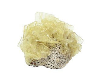 Barite Crystal Cluster on rock matrix Mineral Specimen, Yellow translucent window pane crystals, Collector's Choice
