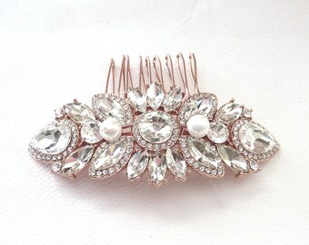 Wedding Bridal Hair Comb Rose Gold Plated Rhinestone Crystal Wedding Hair Accessories Bridal Hair Jewelry