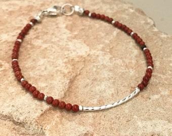 Red bracelet, jasper bracelet, dainty bracelet, gemstone bracelet, noodle bracelet, sterling silver bracelet, Hill Tribe silver gift for her