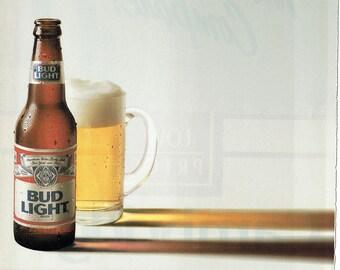 1988 Advertisement Bud Light Everything Else Is Just Beer Lite Drinker Bottle Glass Anheuser Busch Pub Bar Wall Art Decor