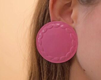 Round Earrings / Oversized Disc Earrings / Vintage 80s Earrings / Statement Earrings