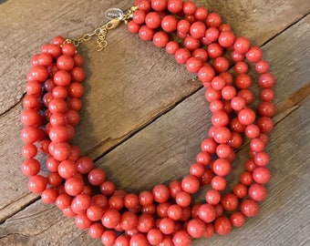 Salmon Marbled Beaded Statement Necklace   Vintage Lucite Sylvie Multi Strand Statement Necklace