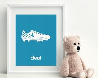 SOCCER CLEAT Children's Art, Children's Decor, Sports, Soccer, Kids Rooms Decor - Custom Nursery Decor