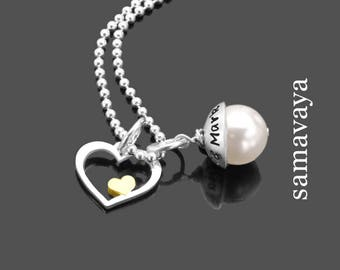 Bridal jewelry heart IN heart Lyho 925 Silver necklace with engraving name chain