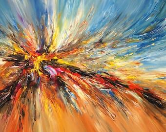 "Large Abstract Painting Maritime Seaside Original XL Acrylic Modern Abstrakt, 61.0 "" x 33.5 "". Artist Peter Nottrott."