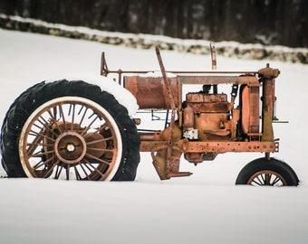 Tractor in Snowy Field #1