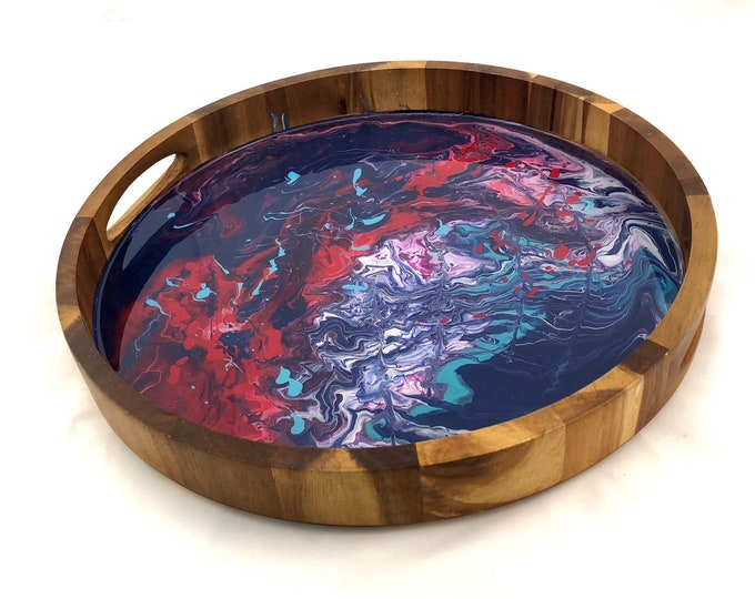 Hand Marbled Acacai Serving Tray
