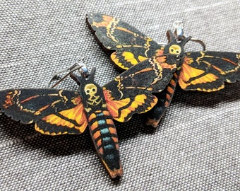 Moth Earrings / Laser Cut Wood Earrings / Death Moth Earrings / Stainless Steel / Hypoallergenic / Insect Earrings / Bug Earrings