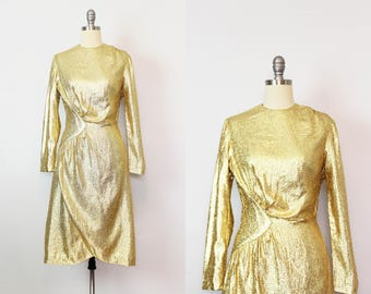 vintage 80s gold metallic dress / 1980s gold lame tinsel dress / holiday party dress / new years dress