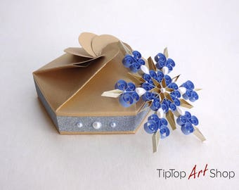 Homemade Christmas Decorations - Quilled Snowflake Ornament in Blue, Gold and White