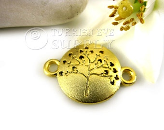 5 pc Tree of Life Disc Connector, Tree Pendant, 22K Gold Plated Turkish Charms, Findings, Jewelry