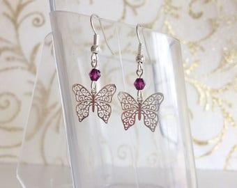 Butterflies and plum purple Pearl Earrings