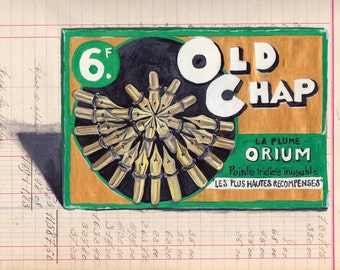 ORIGINAL PAINTING Old Chap Gold Pen Nib Display from France in Gouache