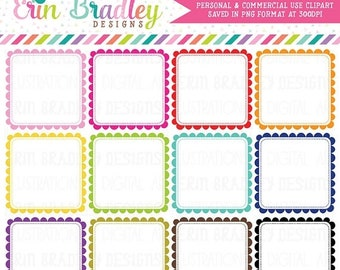 80% OFF SALE Scalloped Square Frames Clipart, Digital Clipart Label Graphics, Square Scallops Commercial Use Clip Art