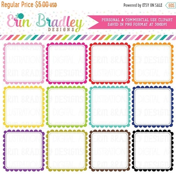 80 OFF SALE Scalloped Square Frames Clipart Digital Label Graphics Scallops Commercial Use Clip Art From ErinBradleyDesigns On Etsy Studio