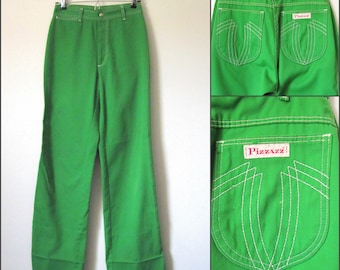 Vintage Kelly Green High Waist Wide Leg Pants Made by Pizzazz Size 8
