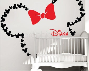 Mickey Mouse ears with Bow & PERSONALIZED BABY NAME / Minnie Mouse wall decals by GraphicsMesh (Large)